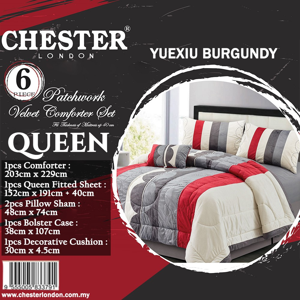 Chester London 6pcs Patchwork Velvet Comforter Set , Queen - YUEXIU