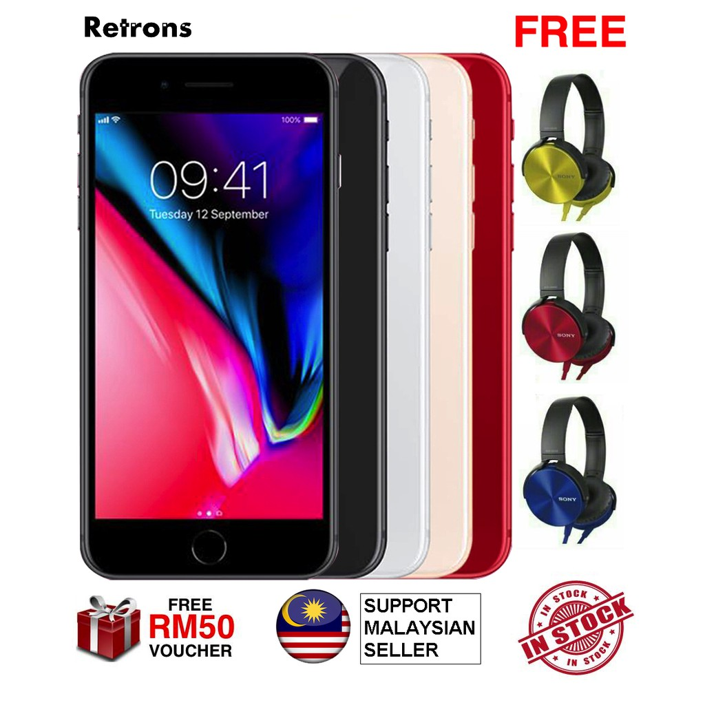 [MYSET + FREE SONY EXTRA BASS HEADSET] Original Premium Malaysia Set iPhone 8 64GB 256GB Fon Murah iPhone 8 iFone
