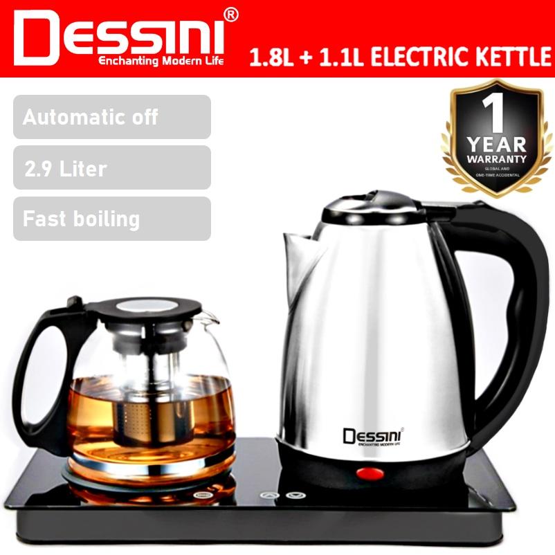 DESSINI ITALY 1.8L + 1.1L Glass Electric Kettle Temperature Control Automatic Cut Off Boiler Jug Teapot / Cerek