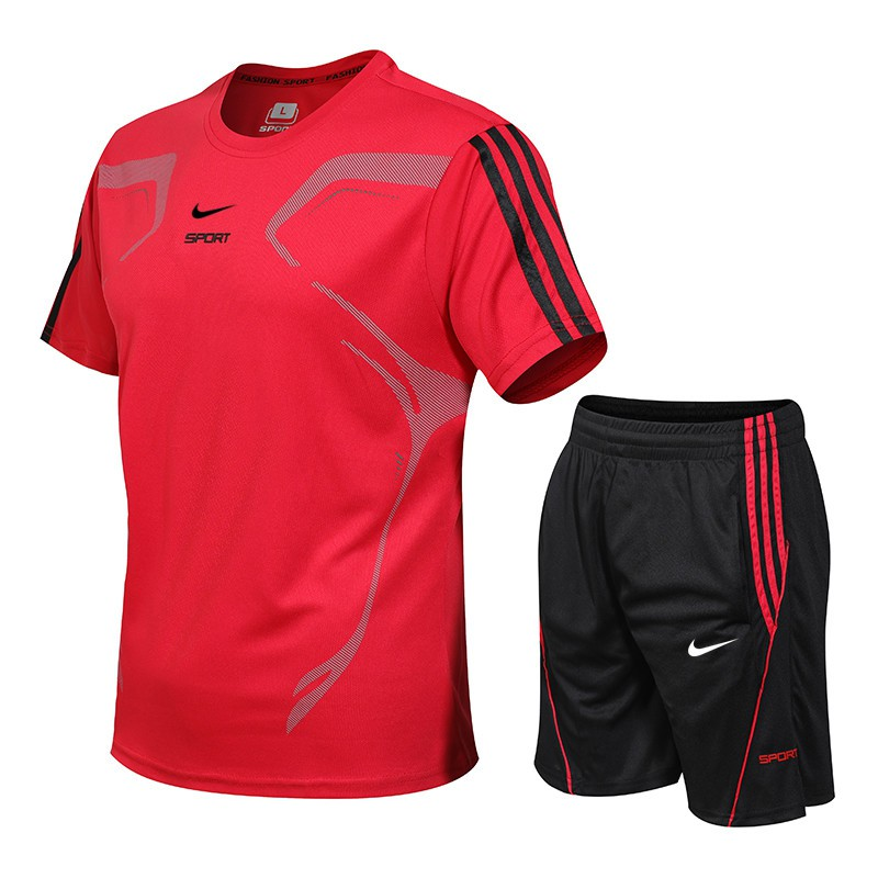 Plano adjetivo Informar  Nike Sport Suit Ready Stock Quick Dry T-shirt Short Sleeved Running Suit  For Men Outdoor Plus Size T-shirt+Pants   Shopee Malaysia