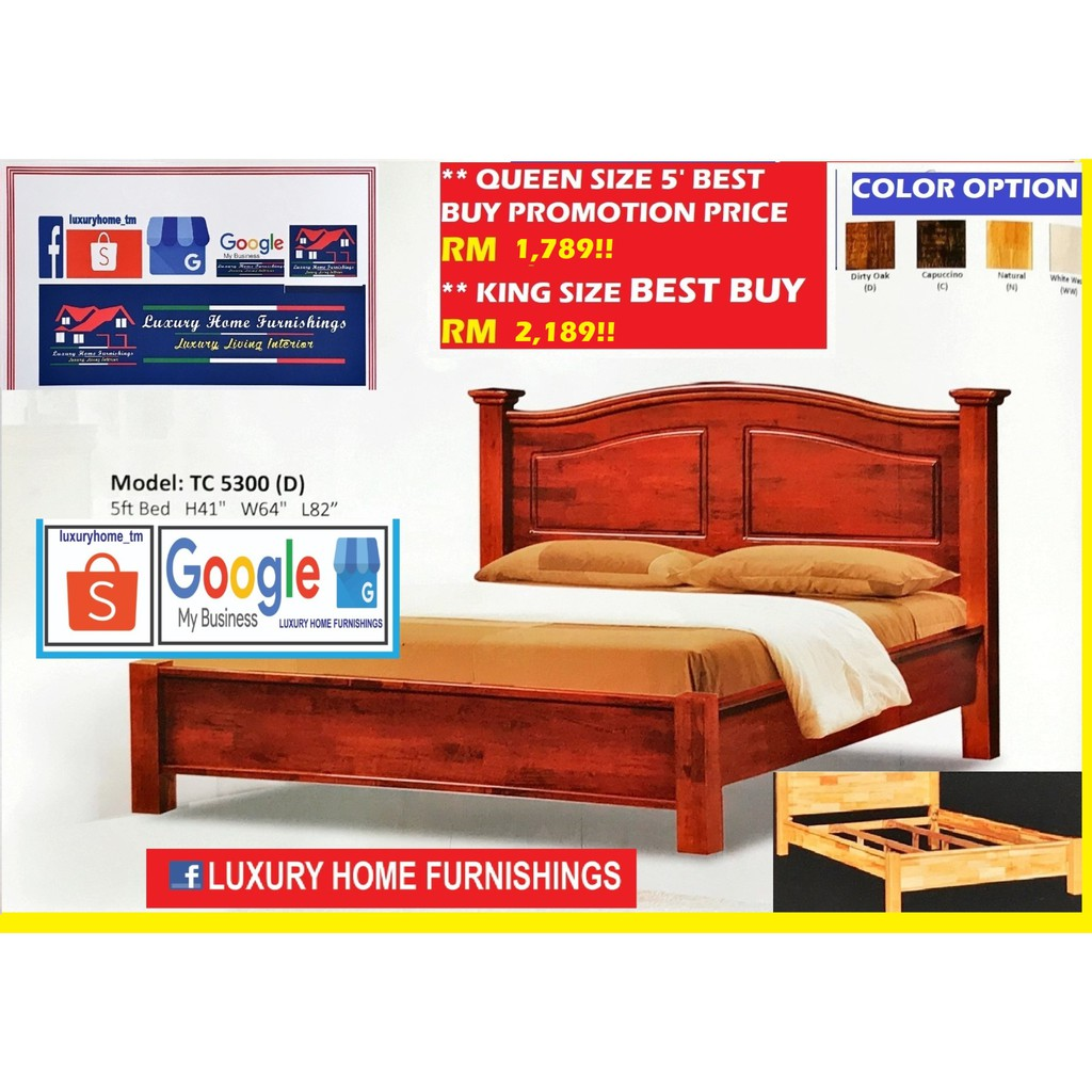 SOLID WOOD SERIES BED COLLECTIONS, D5300 QUEEN SIZE BED WITH DOUBLE SUPPORT BASE!!