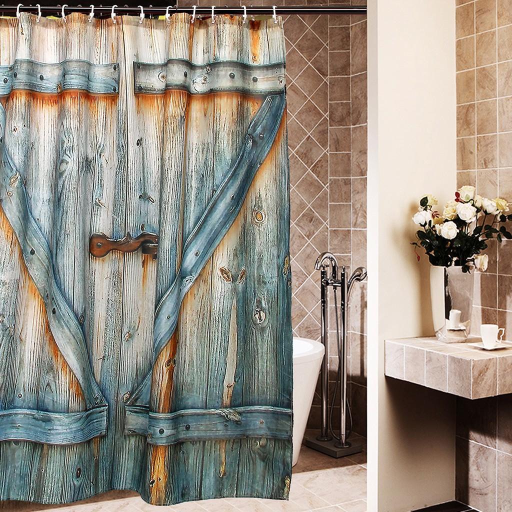 Rustic Barn Shed Farm Doors Country Shower Curtain Waterproof Fabric Sheer