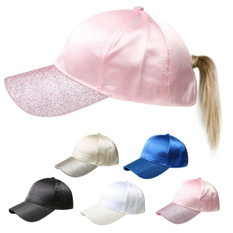 56eb2fce20 Women Baseball Cap Glitter Peak Ponytail Bun Maker Hat Snapback Hats Sports  Cap