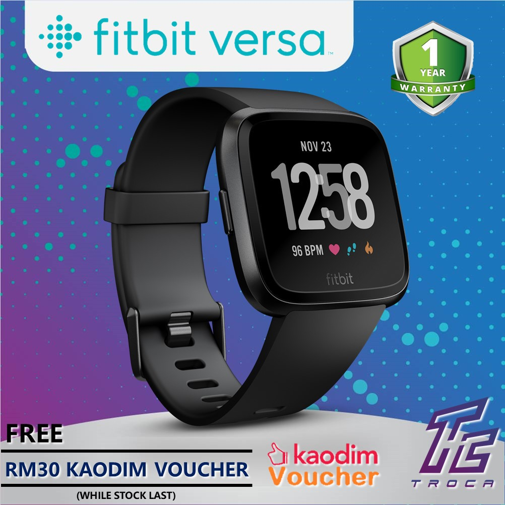 Fitbit Versa Smart Fitness Heart Rate + Activity Tracker + Smart Watches (2  sizes in box) - 5 colors available