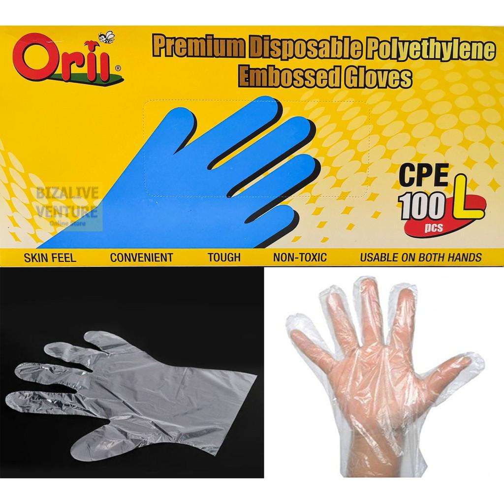 Premium polythene Plastic disposable gloves Size LARGE 100pcs