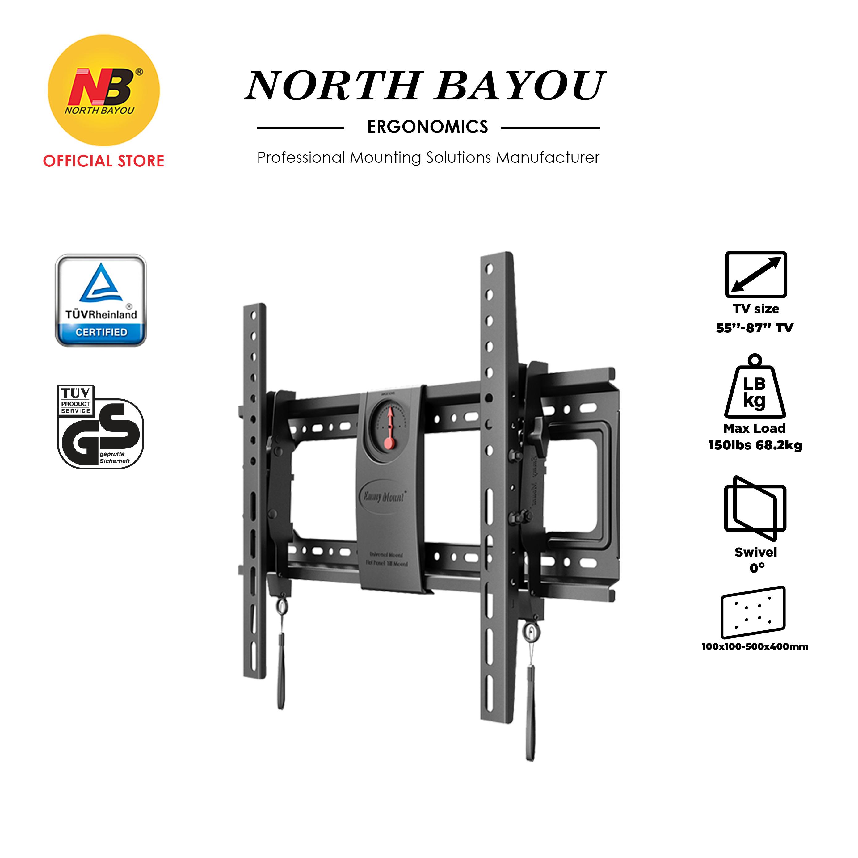 "NB North Bayou DF70-T Ergonomics Interactive Fixed TV Wall Mount Bracket Ultrathin Fit 55"" to 85"" LCD LED Flat Panel TV"
