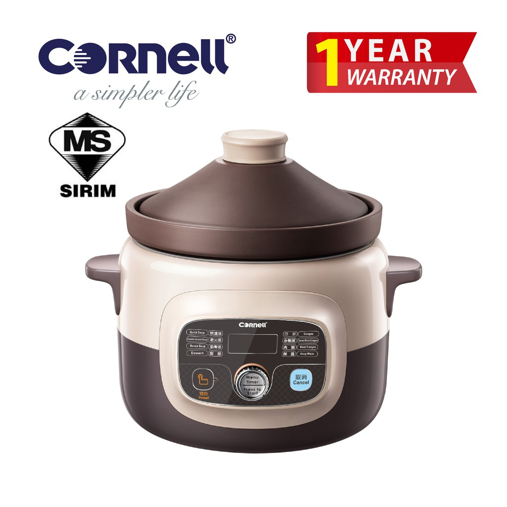 Cornell CSC-E40PC 4 Litre Purple Clay Digital Slow Cooker