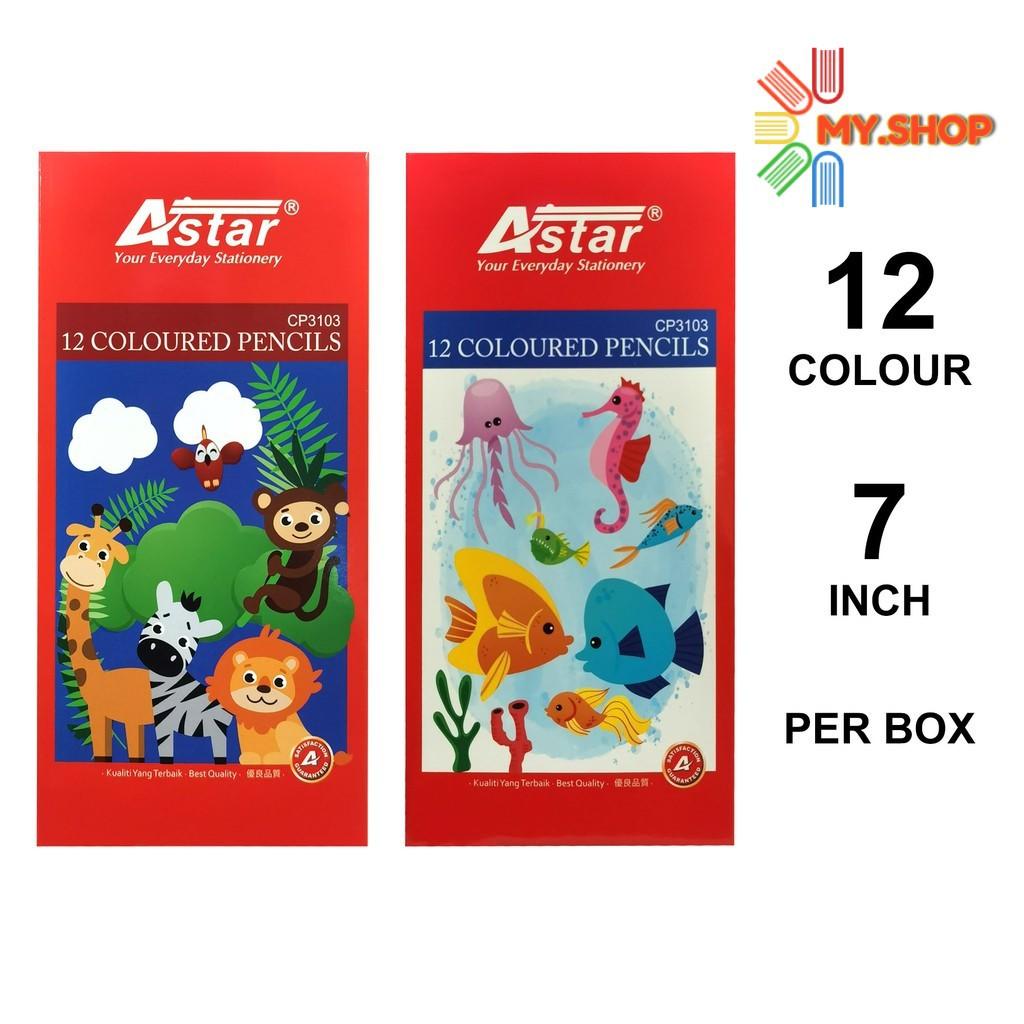 "Astar Coloured Pencil 12 Colours 7"" Long  CP3103"