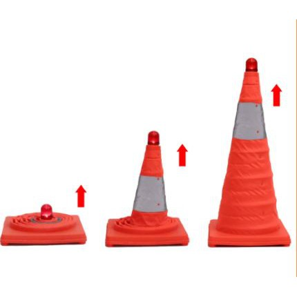 Folding Traffic Cone Collapsible Foldable Safety Security Traffic Cone With Warning Light Kon keselamatan kereta 45cm