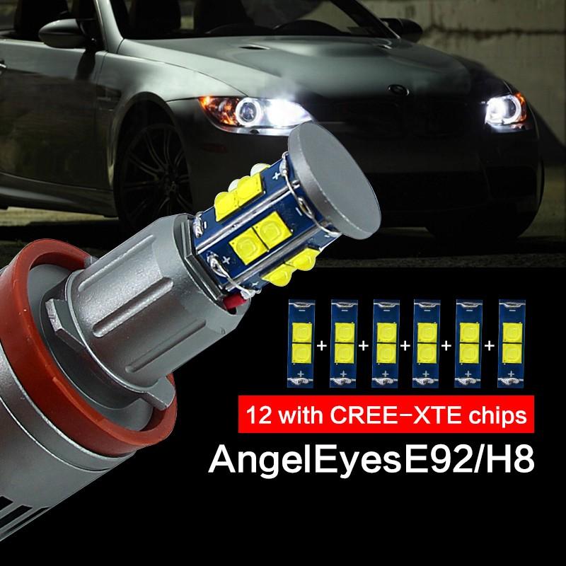 6000K LED Angel Eyes Bulb 2 x 80W White CREE Chips Headlight Marker Light Halo Ring Daytime Running Light For E90 Sedan//Saloon,E91 Touring