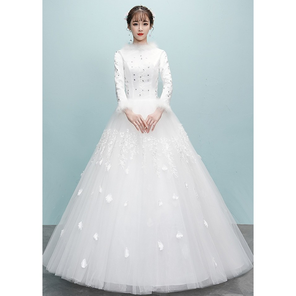 BEAUNIQUE White Fluffy Bead Princess Muslimah Wedding Dress Baju Pengantin  Turki