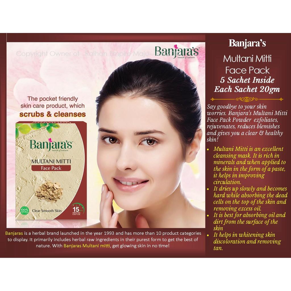 Banjara S Multani Mitti Face Pack 5 Sachet Inside Each Sachet 20gm Shopee Malaysia