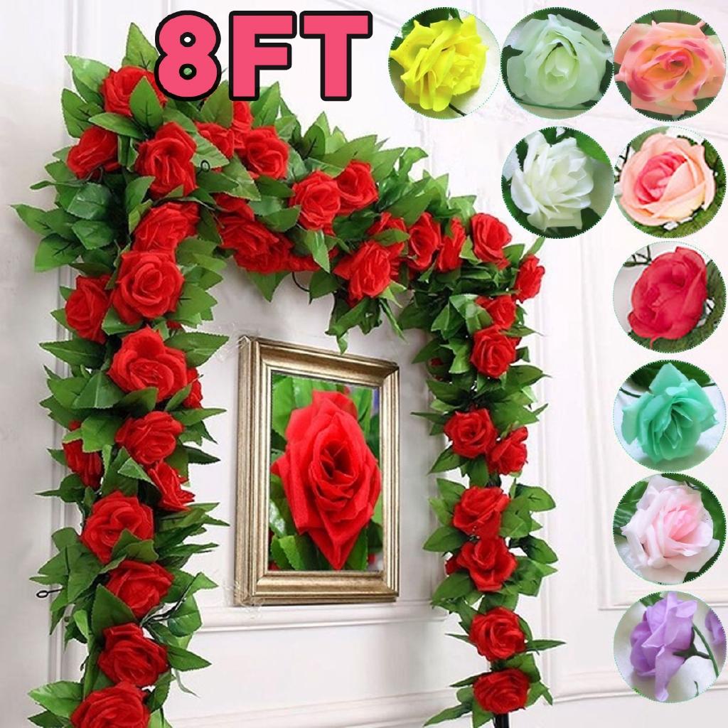 8 ft Rose Flower Ivy Vine Silk Flowers Hanging Garland Wedding Plant Home Decor
