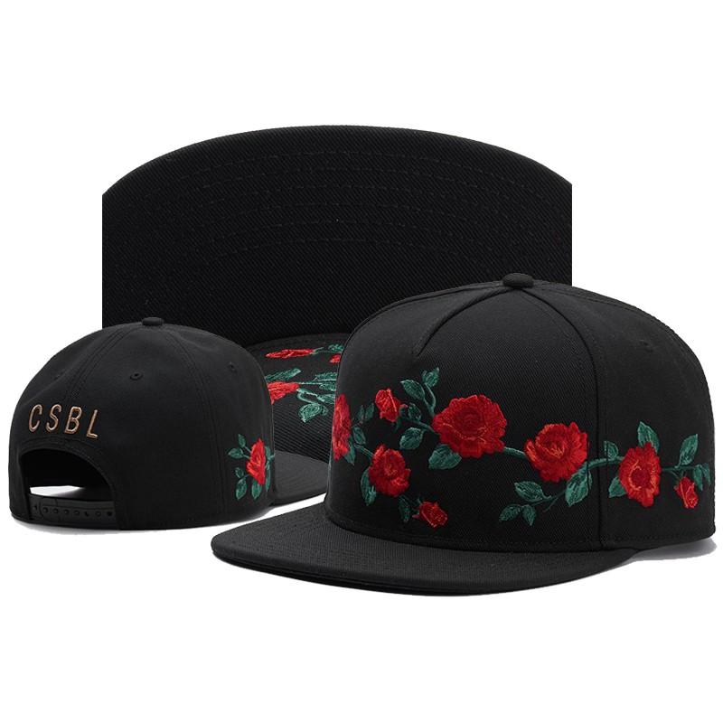 New style Flat Hat Black embroidery Red rose Baseball Cap Adjustable Men cap Women cap snapback cap Sun Hat Hip-ho