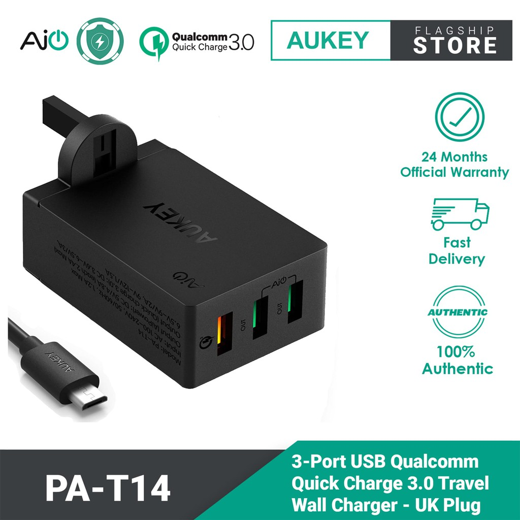 Aukey 3 Port USB Qualcomm Quick Charge Travel Charger PA-T14 for Android Turbo Charger