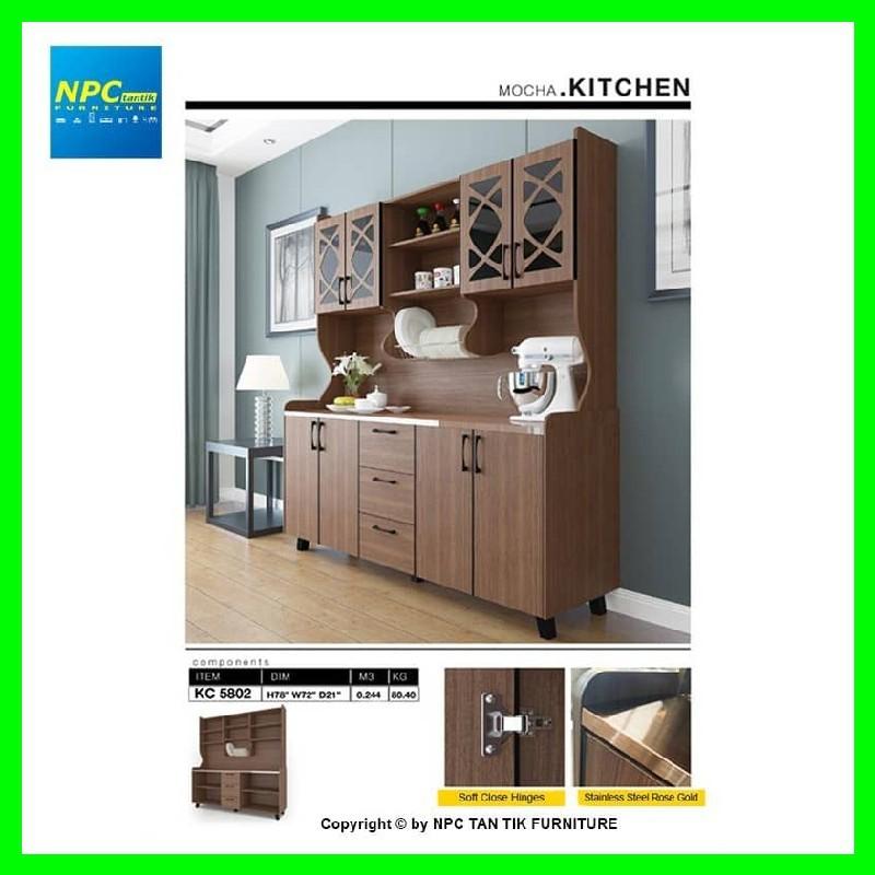 Npc Kc 5802 6ft High Kitchen Cabinet Mocha Kitchen Furniture With Storage And Rack Shopee Malaysia