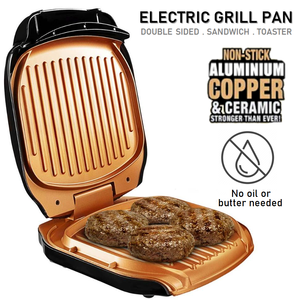 Double Sided Electric Aluminum Copper Pizza Panini Waffle Sandwich Maker Toaster Barbecue BBQ Grill Non-Stick Baking Pan