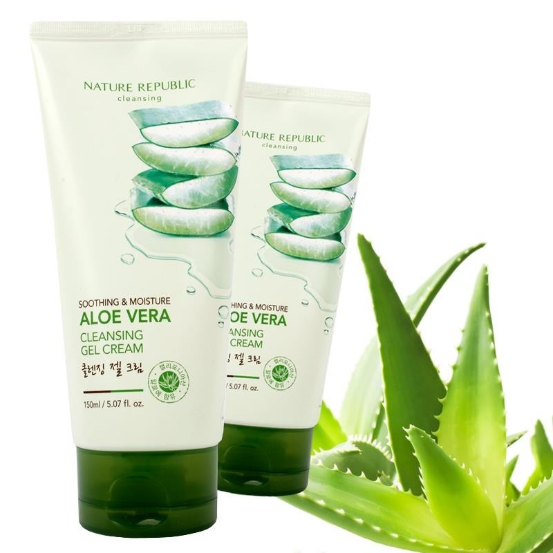 NATURE REPUBLIC SOOTHING AND MOISTURE ALOE VERA CLEANSING GEL CREAM 150ML | Shopee Malaysia