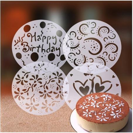 L 4pcs Set Pvc Happy Birthday Cake Spray Mold Tiramisu Decorating Stencils Bakery Tools Shopee Malaysia