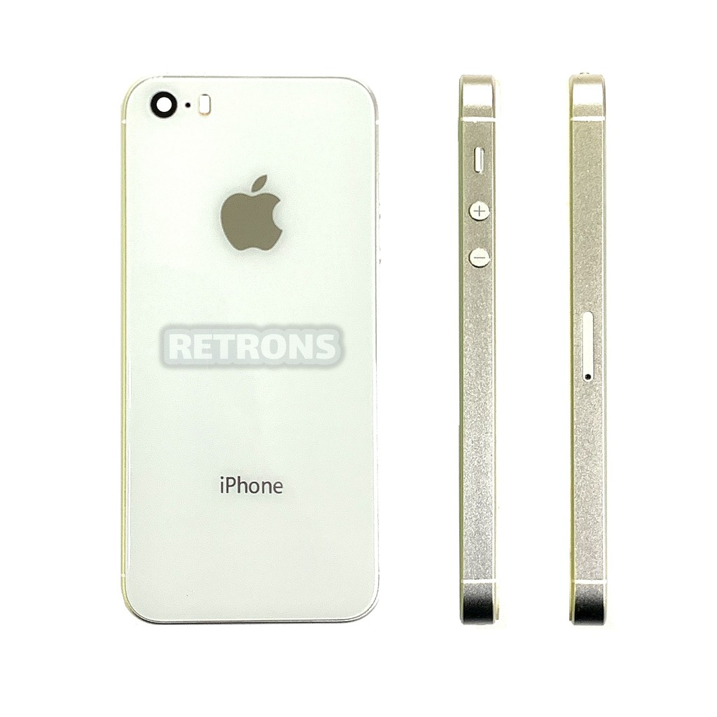 Housing Apple iPhone 5S Convert To iPhone 8 X XR XS Like Glass Back Body with Polished Aluminium New Unique High Quality