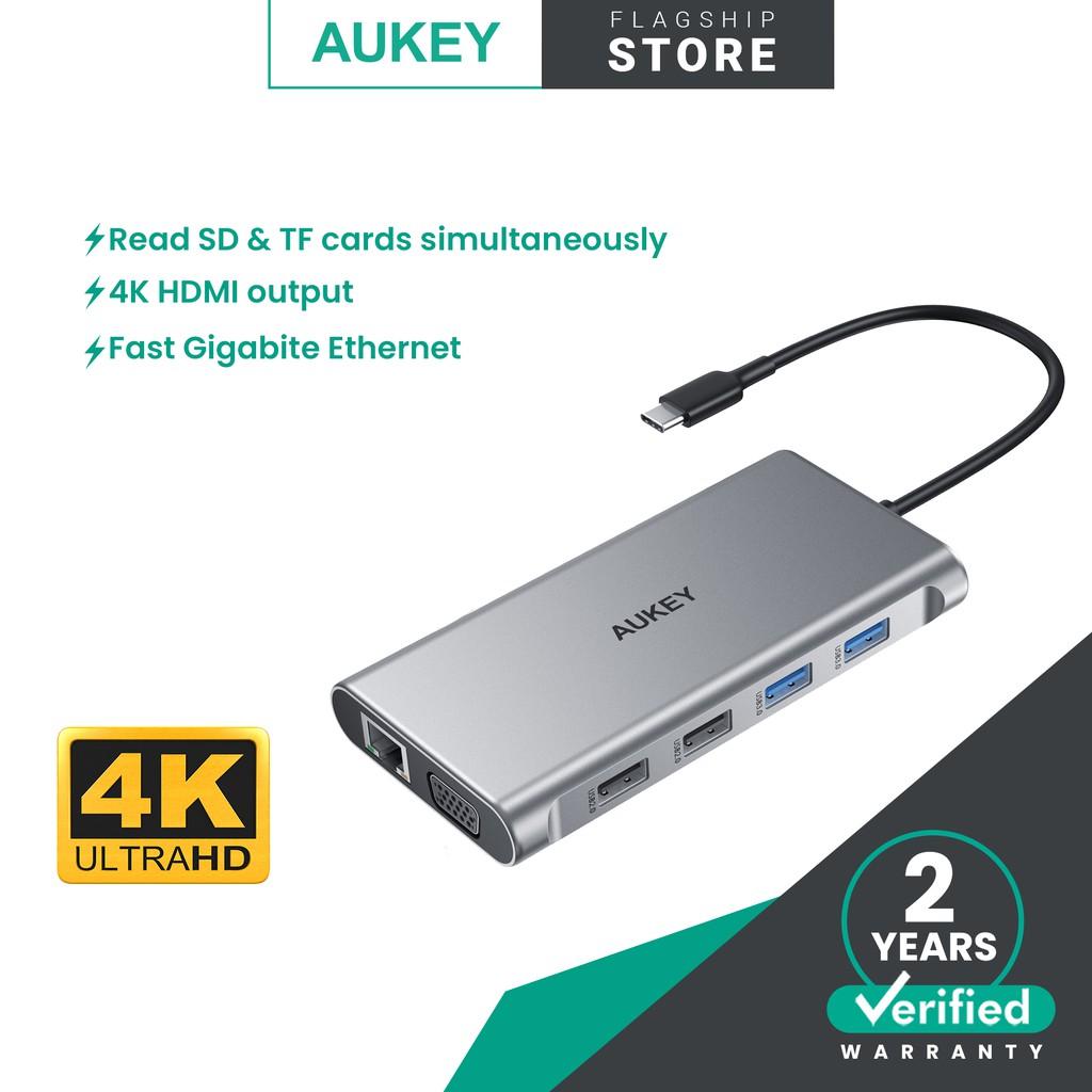 AUKEY CB-C89 10-in-1 USB C Hub with 100W PD, Ethernet, 4K HDMI,VGA,2 USB 3.0,2 USB 2.0,USB-C Port & SD&TF Docking Stati