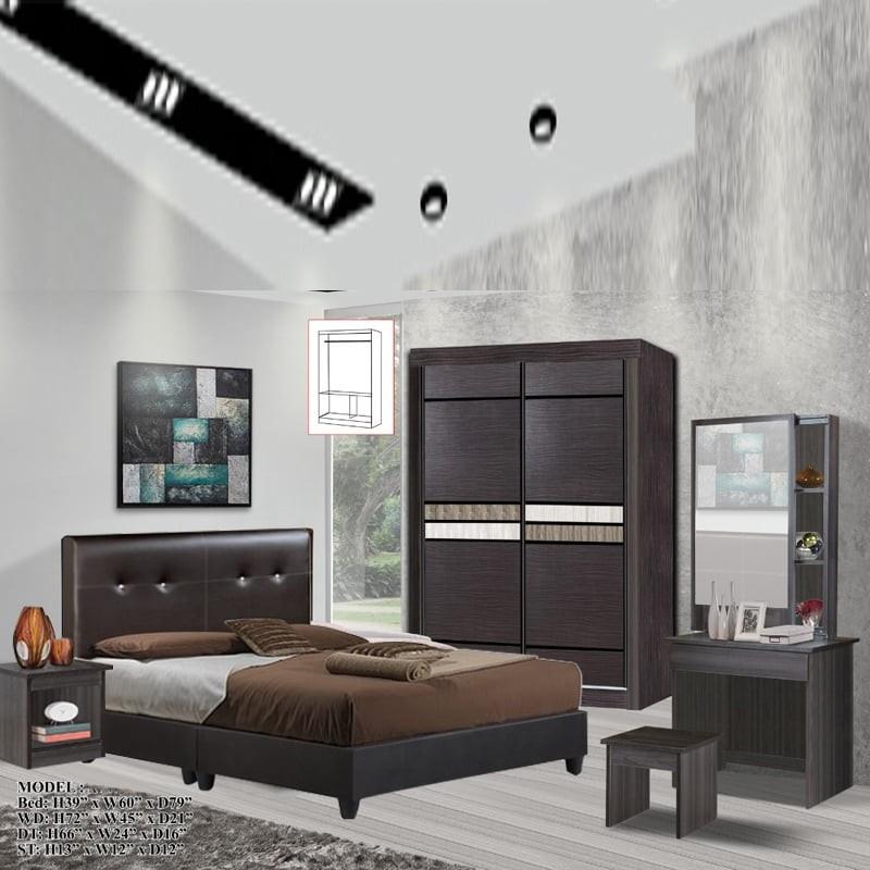1502 OMAN 5 Pieces Queen Bedroom Set Furniture Set – Queen Size wenge color