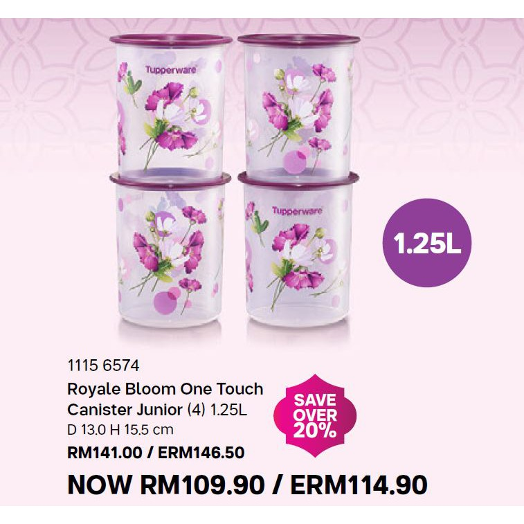 New Tupperware Royale Bloom One Touch Canister Junior (4) 1.25L