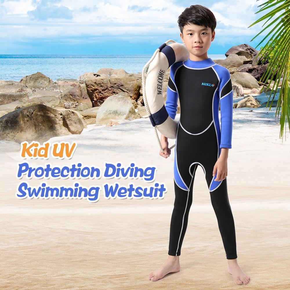 3d479b5b387e5 Kids Neoprene Wetsuit Boys Girls Swimsuits Long Sleeve UV Back Zipper  Swimwear
