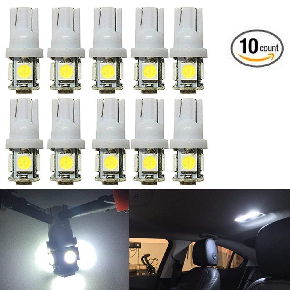 10x Yellow T10 5SMD 12v Wedge LED Width Door Light Signal Bulbs W5W 158 168 194