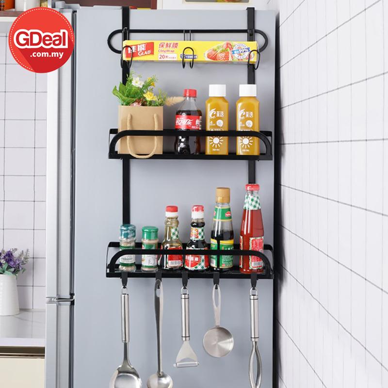 GDeal Multifunctional Punch Free Refrigerator Side Hanger Stand Rack Storage Organizer