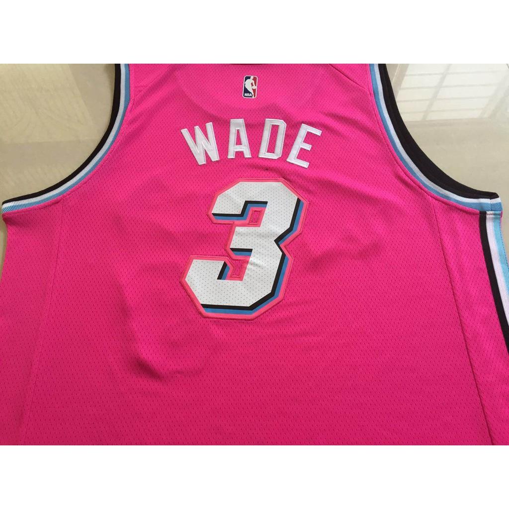 official photos 1be36 bc8e4 Men's Miami Heat Dwyane Wade Nike Pink 2018/19 Swingman ...