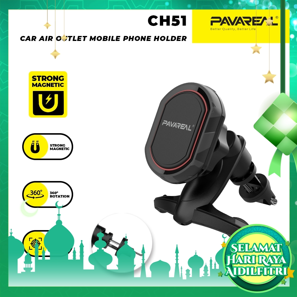 PAVAREAL PA-CH51 360 Rotating Strong Magnetic Car Air Vent Mount Phone Holder No Block Screen