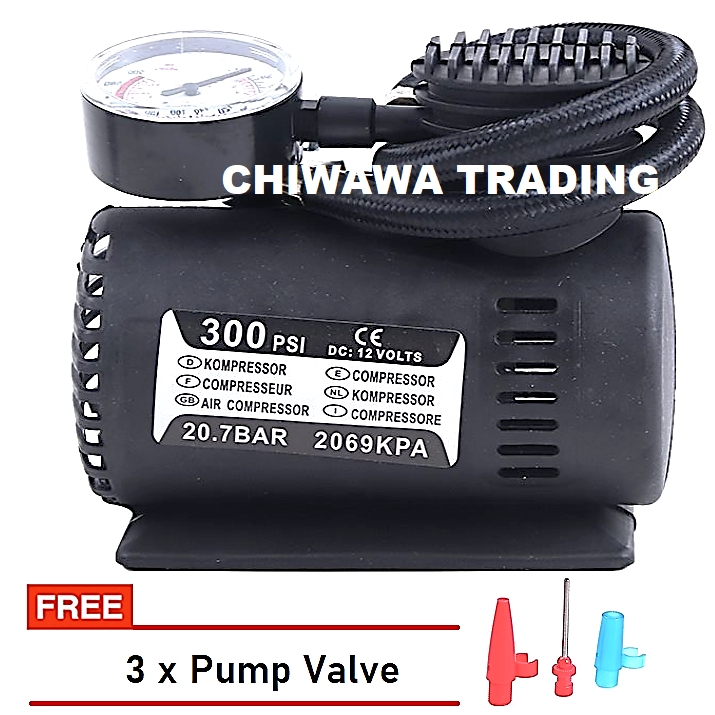 300PSI Heavy Duty DC 12V Electric Air Compressor Pressure Pump Tire Cylinder Auto Car Motorcycle Tyre Inflator