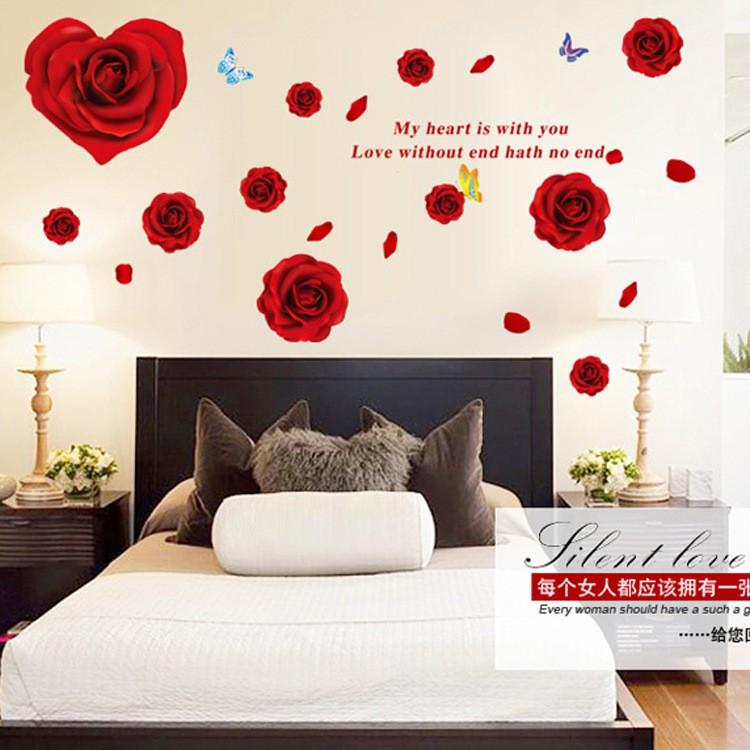 Valentine S Day Romantic Rose Wall Sticker Heart Shape Home Decor Removable Wall Sticker Bedroom Decor Hari Valentine Shopee Malaysia