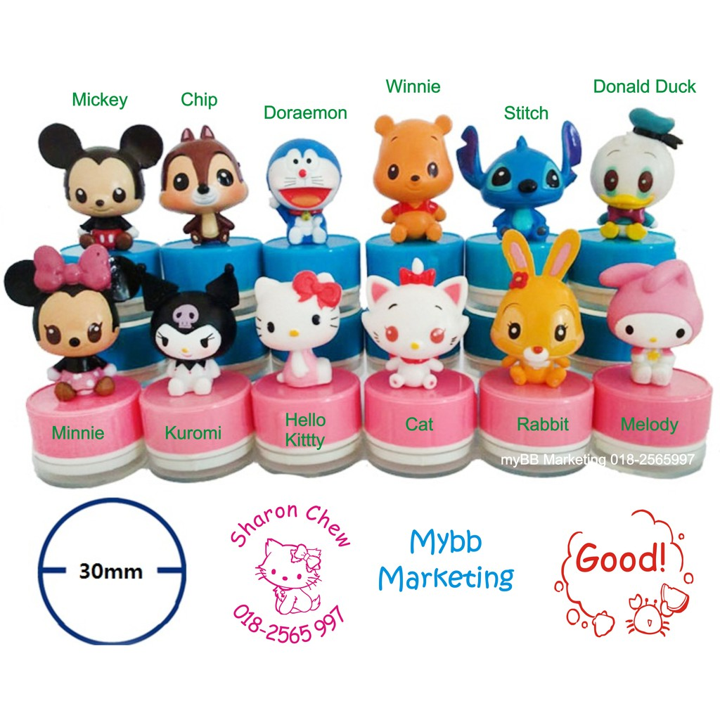 (CE) 3D Cartoon Stamp Chop, Name Chop, self-inking - ready stock