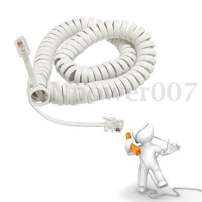 2M Telephone Handset Cable Curly Cord RJ10 Coiled Phone Lead Extension Black