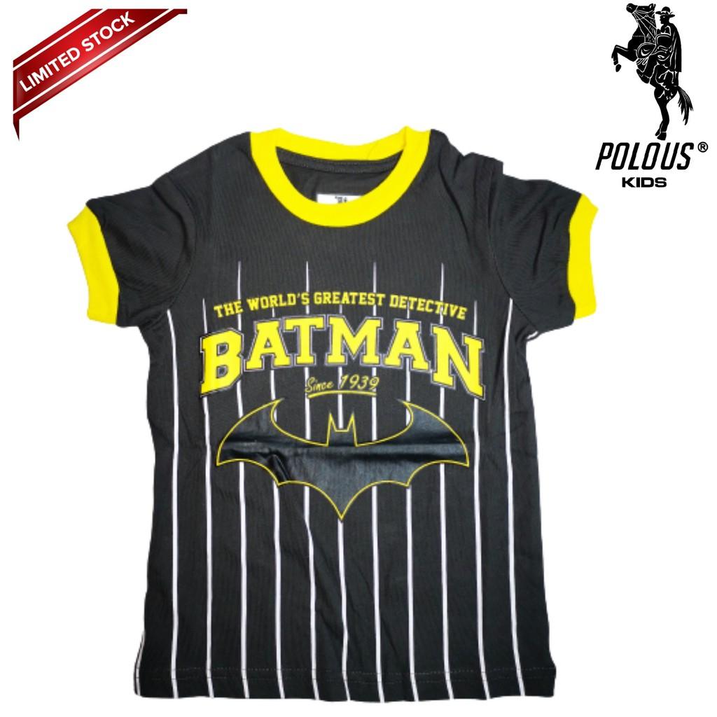POLOUS Boy Cotton Short Sleeve Round Neck Shirt 9004-BATMAN