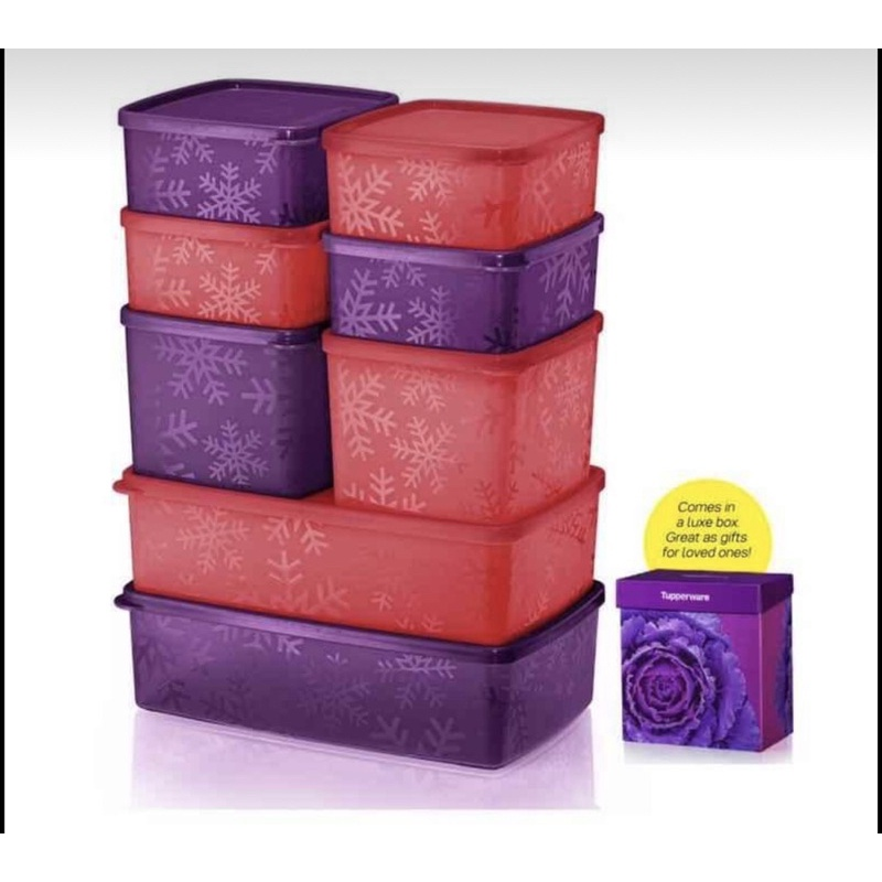 Tupperware Snowflake Square Round Set / Purple Series / Red Series / New Collection