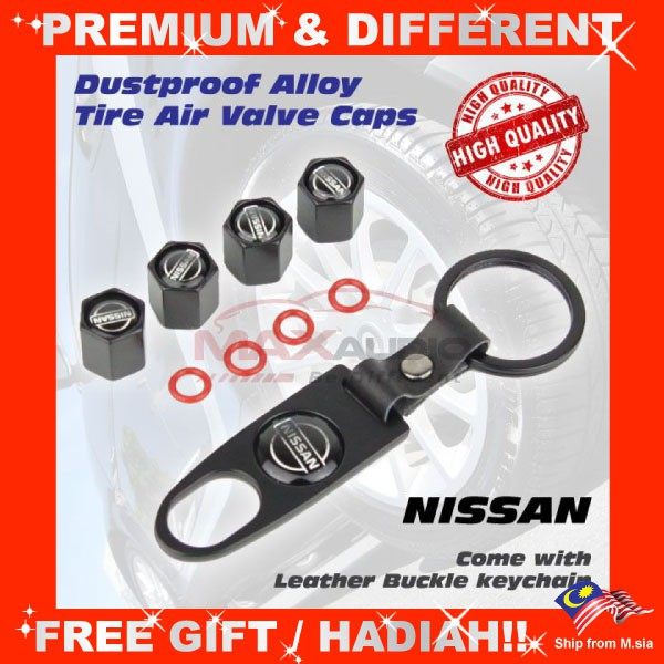 [FREE Gift] NISSAN Universal Dustproof Car Vehicle Alloy Tire Wheel Air Valve Stem Cap Cover with Keychain (4pcs/Set)