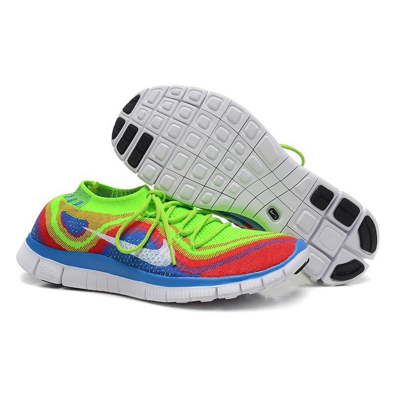 Nike Free 5.0 Flyknit Nike Free 5.0 Flyknit Men Fluorescent Green Blue | Shopee Malaysia
