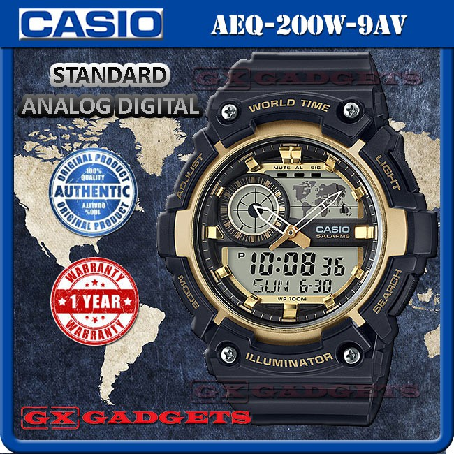 8b40c430a02 CASIO AEQ-200W-2AV STANDARD ANALOG DIGITAL WATCH WORLD MAP TIME LIGHT AEQ-200W