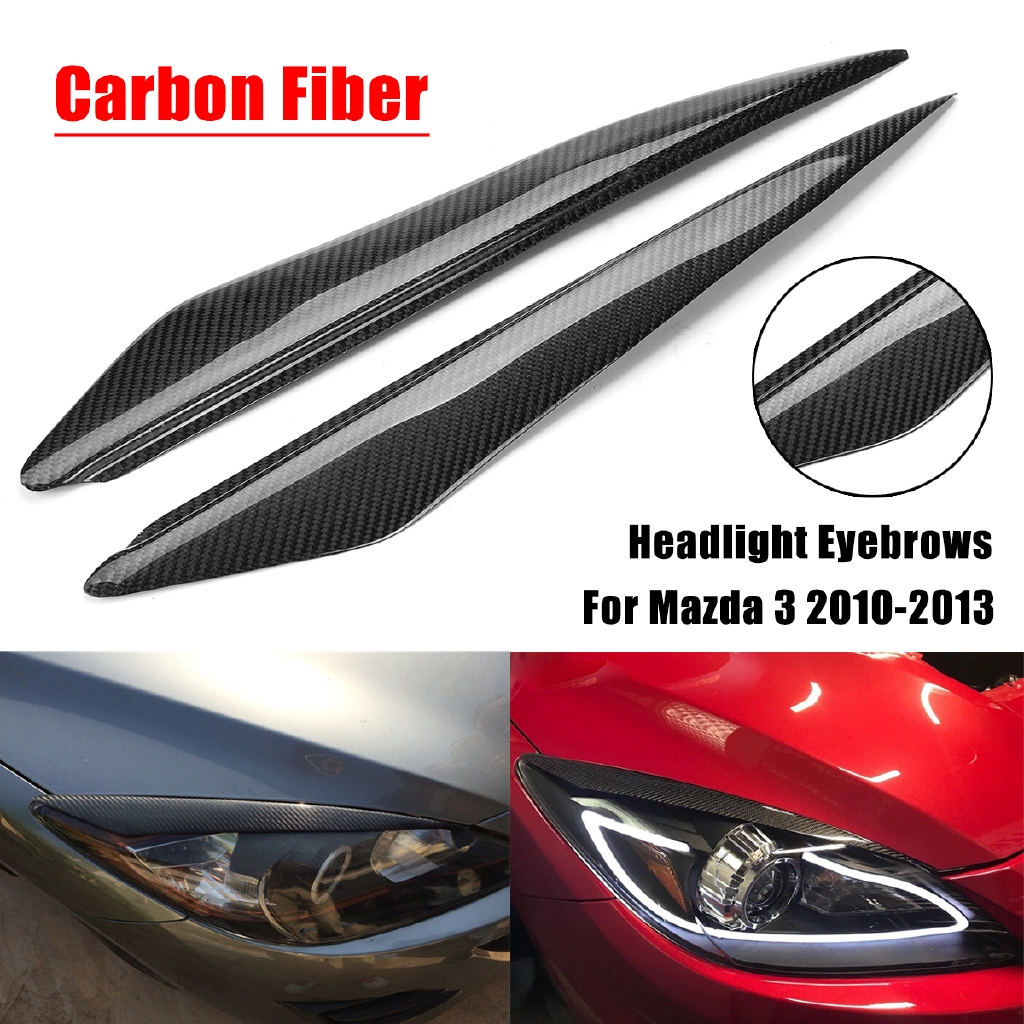 Real Carbon Fiber Headlight Cover Eye Lid Eyebrows For 2014 2018