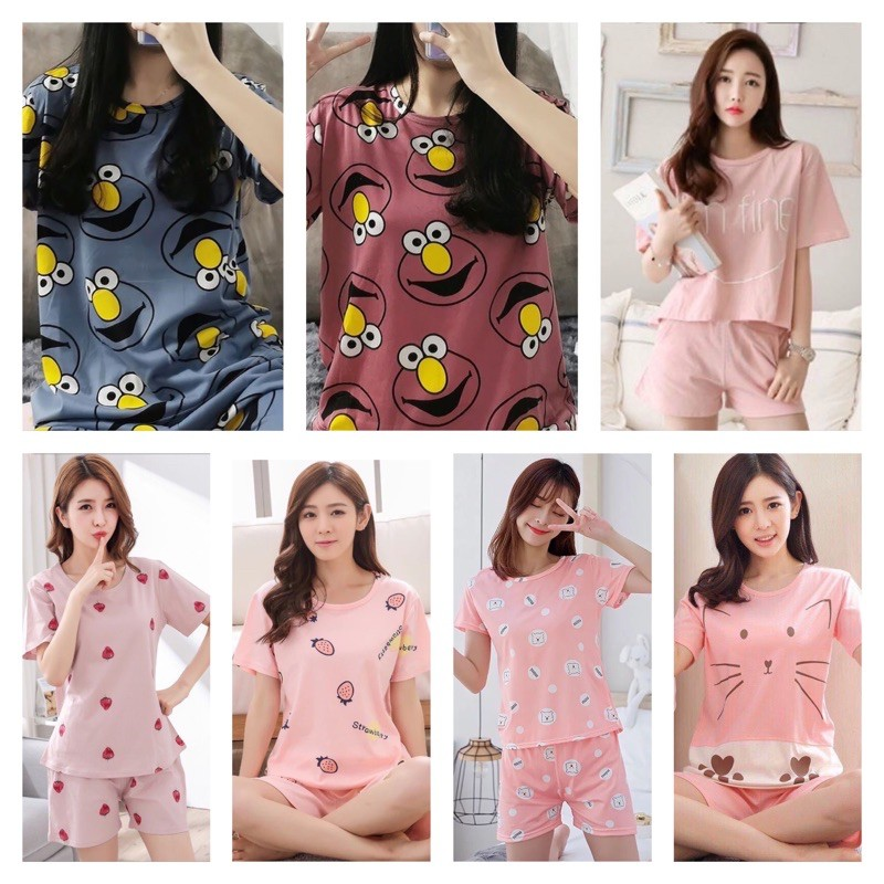 [READY STOCK] WOMEN PRINTED DESIGNED SHORT SLEEVE SLEEPWEAR PYJAMAS SET - FREE SIZE(ABLE FIT UP TO SIZE M)