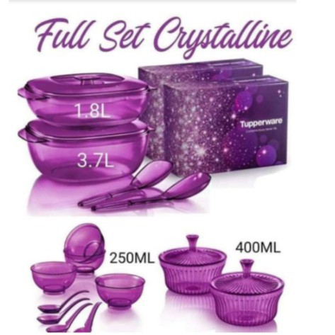 Tupperware: Purple Royale Crystalline Saucy Server/Crystalline Soup Server/Bowl with Spoon/Crystalline Small Server
