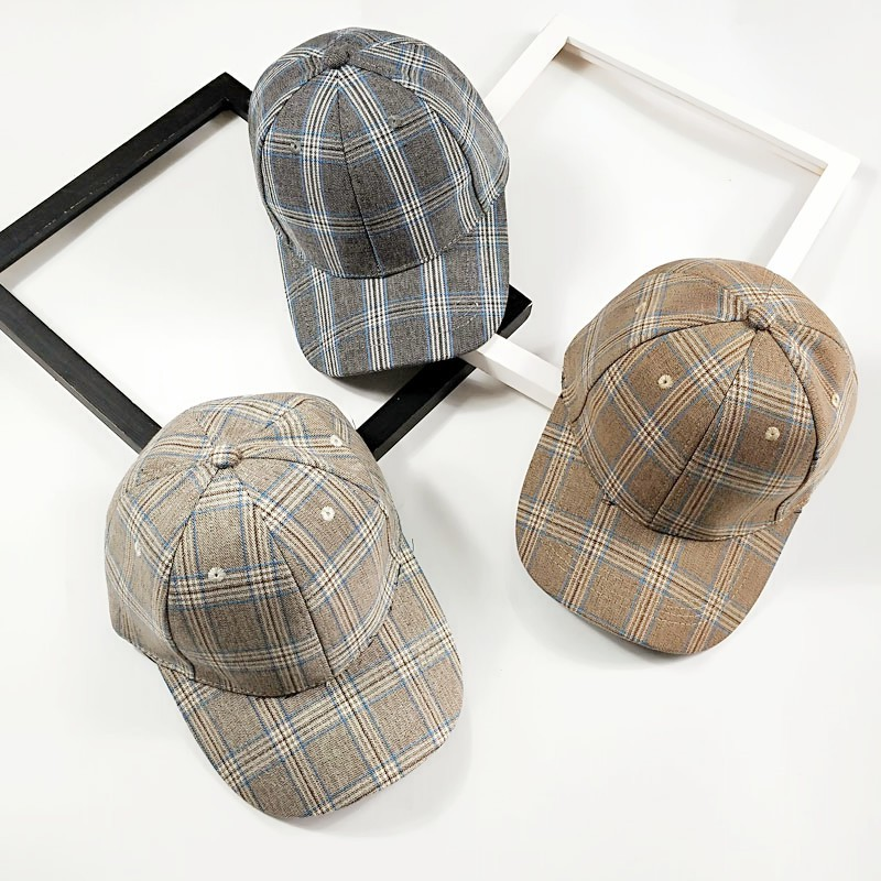 Spring and summer retro fashion plaid baseball cap female  5e5459e7228c