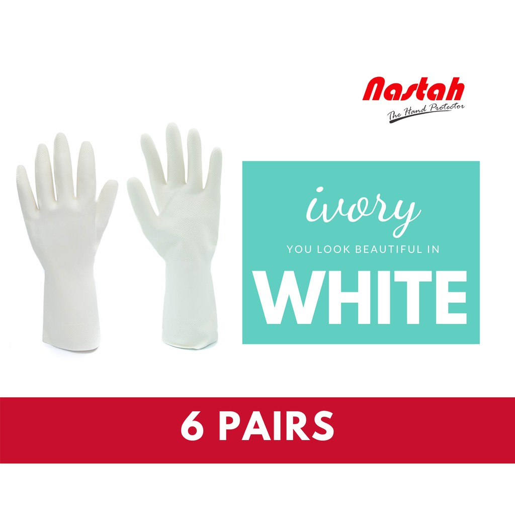 6 Pairs Household Gloves Wfl2 White Color Japan Best Seller Natural Rubber Latex Cleaning Gloves Kitchen Gloves Shopee Malaysia