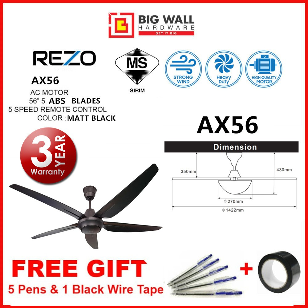 Rezo Ceiling Fan REZO AX56 AC Performance Motor 5 Speed 5 ABS Blades Remote Control Complete with Installation