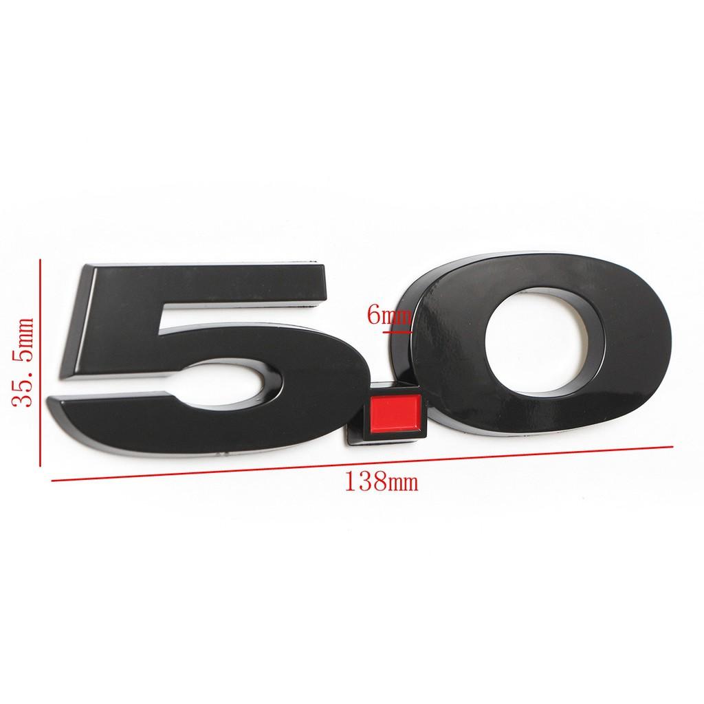 5.0 Fender Emblems For Ford Mustang ABS Plastic Side Badge Red Dot Black Logo