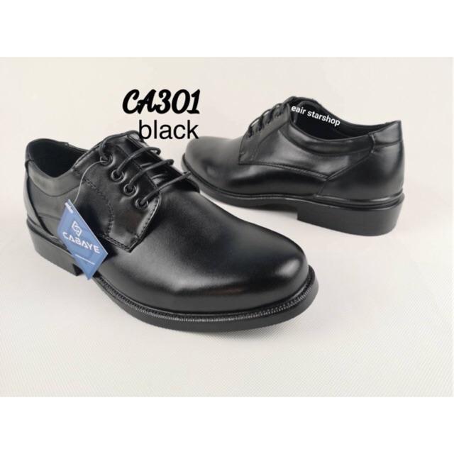 รองเท้าหนังดำ รองเท้าคัทชูชาย ทรงหัวมน CA301-