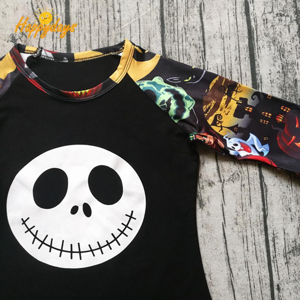 ✿ha✿Summer Kid Girls Ruffled Cartoon Ghost Print Long Sleeve Halloween T-Shirts